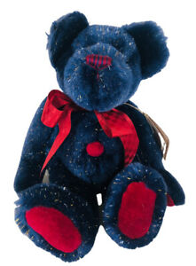 """Boyds Bear Collection Blue Sparkly Task Teddy Bear Red Bow 9"""" with Tags"""