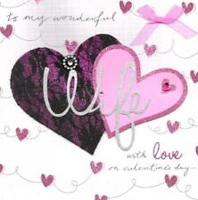 """Wonderful Wife Valentine's Day Card 8"""" Square Hand-Finished Valentine Cards"""