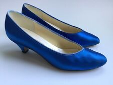 Vtg 80's Blue Satin Dyeables USA Made Women's 7.5 Heels Round Toe