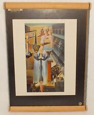 """DALI SALVADOR - El Hombre Invisible - 9"""" x 12"""" Art Deco Litho - Wood Coil Frame"""