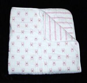 "Aden + Anais Pink White Muslin Bunny Stripe Baby Blanket 39x39"""