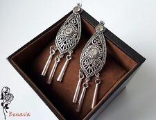 Ohrringe Chandelier Tribal Silber Retro Vintage