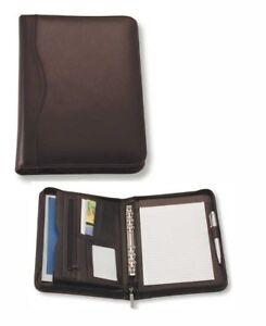 1 x A5 Black Zippered Compendium Genuine Leather Fast del Aust Wide - Brand New