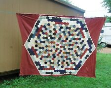 """Hand Quilted Pieced Quilt Topper Octagon 80"""" x 60"""" Maroon Boarder Vintage Cotton"""