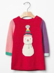 Baby Gap Red Snowman Colorblock Sweater Dress 3-6 Months $45 NWT
