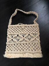 Original Ladies Vintage Cream Sheer Beige Straw Handbag Bag
