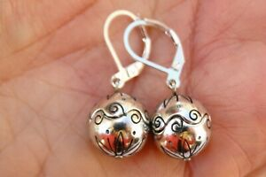 Altered Brighton Glamour Silver Etched Bead On Lever Back Earrings