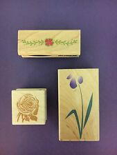 THREE Rubber Stamps -  Anna Griffin Rose; Iris-Hero Art; Floral Stampability