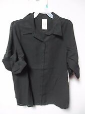 Faded Glory Youth Girls Black Blouse 3/4 Sleeve Shirt Size XL (14/16) LOT OF TWO