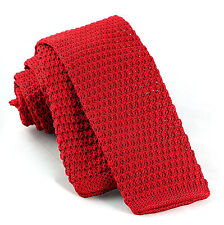 "Cherry Red Solid Knit Men's Necktie Skinny 2"" Knitted Fashion Square End Tie New"