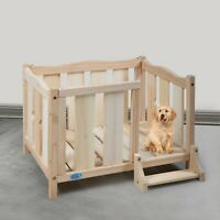 Wooden Dog Pet Bed for Small Dogs Cats Room Shelter with Guardrail
