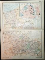 1898 ANTIQUE PRINT COLOUR MAP of NORD Lille FRANCE French CARTE