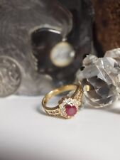 GENUINE / SOLID 750 YELLOW GOLD NATURAL RUBY AND DIAMOND CLUSTER RING / SIZE: L