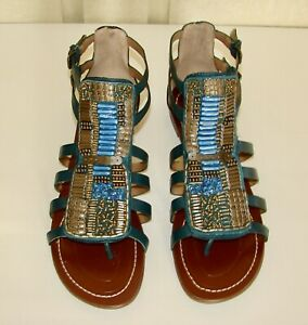 NIB Boutique 9 Prominent size 7.5 teal blue beaded leather flat sandals
