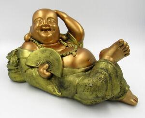 Hotei Piggy bank Figurine Budai Pu-Tai Big Gold-Bronze Color