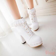 Womens Sweet Lace Up Lolita Block Heel Princess Party Pumps Platform Party Shoes