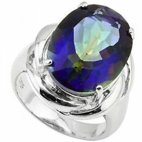 12.5 Carat Blue Mystic Genuine Topaz Ring Sz 7 Platinum over 925 Sterling Silver