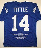 Y.A. Tittle Autographed Blue Stat Pro Style Jersey W/ HOF- JSA Auth