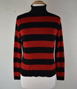 Worthington Size XL Red & Black Striped Metallic Long Sleeve Turtleneck Sweater