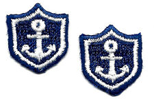 NAUTICAL/NAVY PATCH w/WHITE ANCHOR (2)Iron On  Embroidered Applique/ Miniatures