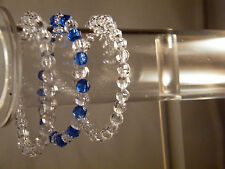 Blue Clear Bracelet 4mm Acrylic Bead Stretch Set of 3 Affordable Fashion Jewerly