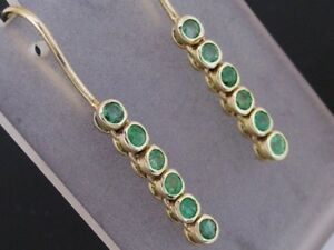E048- Lovely Genuine 9ct SOLID Gold NATURAL Emerald Drop Earrings Journey
