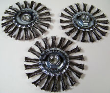 """3pc 4-1/2 """" Spiral Twisted Knotted Wire Wheel With 5/8"""" x 11TPI Arbor HUB Carbon"""