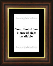 New Mahogany Effect Gold Trim Photo Picture Frame Black Mount Choose size