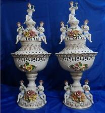 Vtg CAPODIMONTE RETICULATED FLORAL AND CHERUB PAIR OF LAMPS