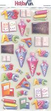 3 D Sticker - Softysticker - Schule - Zahlen, Tafel, Buch, Stifte...
