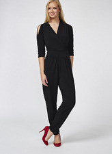 Kim & Co Brazil Knit Wrap Front Jumpsuit Petite Black 3XL