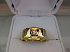 Unisex 18K Solid Yellow Gold 0.45Ct Natural Champagne Ring, 7.8gm,GIA $1600.00