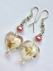 White Foiled Heart Earrings With Silver Plated Hooks