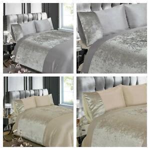 Luxury Crushed Velvet Panel Duvet Cover and Pillowcase Set - NATURAL / SILVER