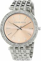 Michael Kors Ladies Darci Rose Gold Dial Silver S-Steel Bracelet Watch MK3218