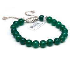 New DAVID YURMAN 8mm Spiritual Bead Bracelet; Green Onyx, Silver Adjustable