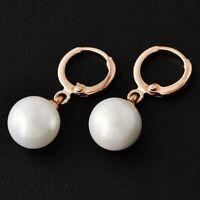Vintage earings Womens 14K Rose Gold Filled White Pearl Dangle Hoop Earrings