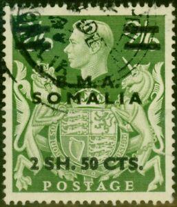 British Occu Somalia 1948 2s50c on 2s6d Yellow-Green SGS19 Fine Used