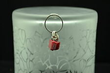 925 STERLING SILVER DANGLING MAROON RED BEAR SHAPED BEAD PENDANT CHARM #12539