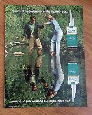 1970 Salem Cigarette Ad  Couple Wadding in Stream Creek