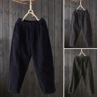 Mode Femme Pantalon Long Taille elastique Poche Causal en vrac Jambe Large Plus