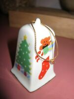 Vintage Porcelain Bell White Gold Gilt Christmas Tree Trimmer Ornament 1984 VGU