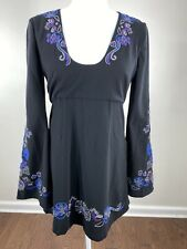 Free People Women's size 4 tunic top black embroidered bell sleeve empire waist