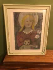 Original Pastel Hand Painted Frame MADONNA AND BABY