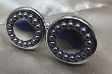 Vintage Men's Cufflinks Round Design Silvertone Pewter Beads Border Shiny Center