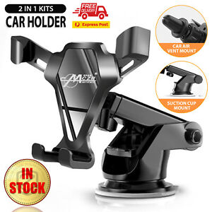 Universal Car Phone Holder 2 IN 1 360° Windshield Rotating Air Vent Mount Stand