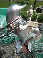 LARGE NAUTICAL METAL DOLPHIN STATUE-SCULPTURE WITH ABALONE SHELL NECKLACES