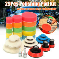 29Pc Polishing Pad Kit With M14 Thread Back Pad & Adapter Drill Buffing Buffer