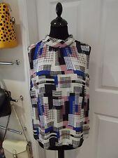 TU Sleeveless Blouse in White/Black/Pink/Blue Smart Wear Slouch Neck UK Size 16