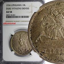 Lithuania Silver 1936 10 Litu NGC AU58 DUKE VYTAUTAS DIDYSIS Mintage-720,0KM# 83